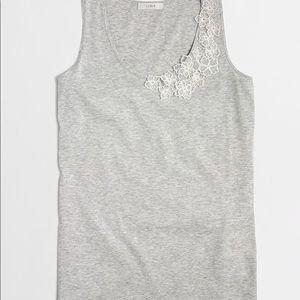 NEW JCREW gray tank white appliqué lace flowers XS